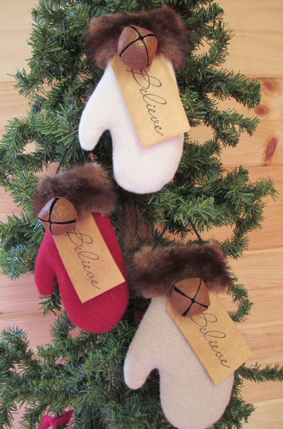 Wool Santa Mitten Ornament, Love the (fake) fur trim with bell.