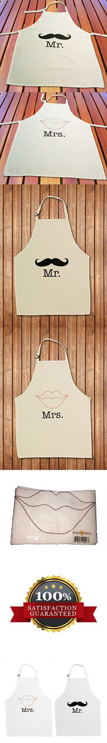couples bridal shower gift ideas%0A Kitsch n Charm Mr  His and Hers Aprons with Mustache and Red Rhinestone  Lips  Fully Adjustable  Great Wedding Anniversary Bridal Shower or  Engagement Gift