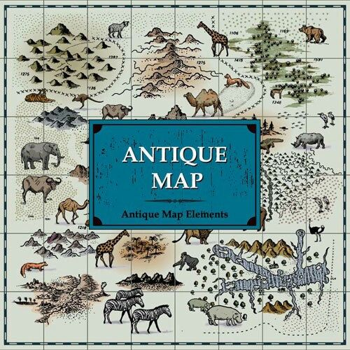 Antique Map Elements. Hand Drawings of Buildings, Humans and Animals. Vector Illustration.