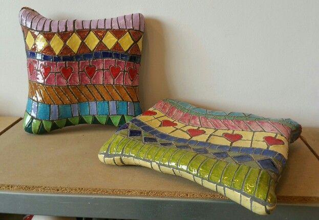 Mosaic pilows with selfmade ceramic pieces