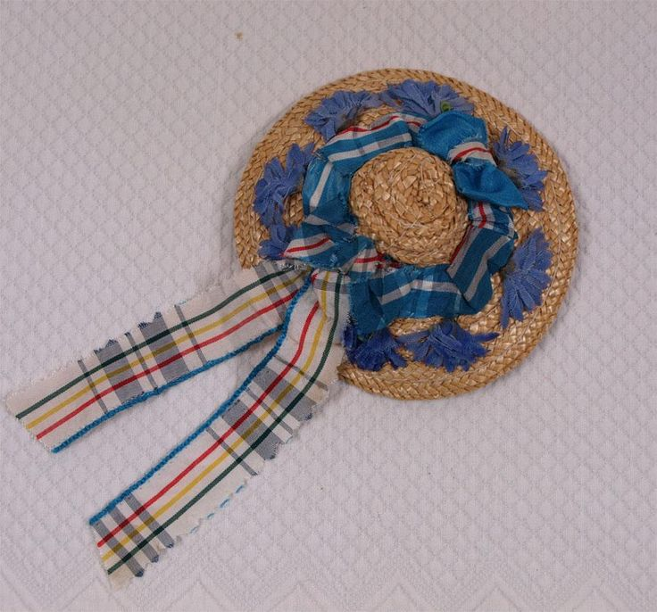 Wonderful Antique Straw Hat for French Fashion Doll circa 1860-1870's
