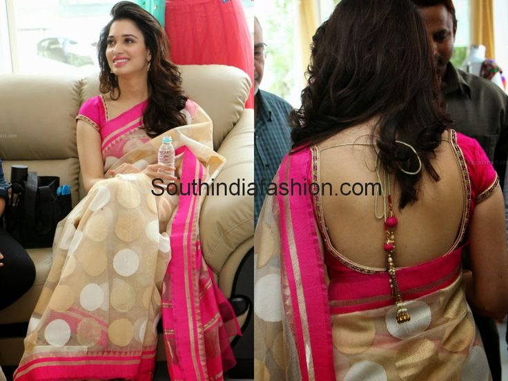 Actress Tamanna Bhatia launched Trisha - A Trendy Wish store at Raod No: 36, Jubilee Hills, Hyderabad.  She wore an elegant off white jute silk polka dots saree with pink border, teamed up with pink puff sleeves and deep back neck blouse.
