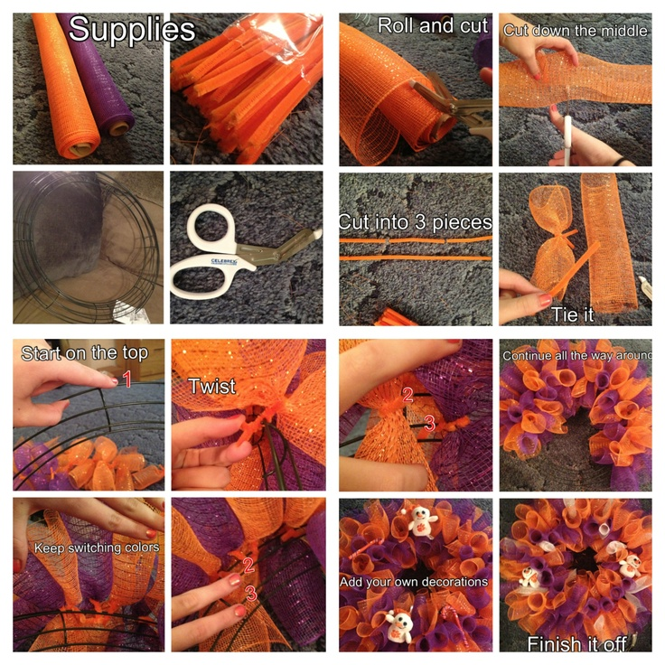 CUTE AND EASY WAY TO MAKE A WREATH FOR THE HOLIDAYSEASON IN 10 STEPS  Supplies: - A metal wreath form - Mesh - Pipe cleaners - Scissors - A lot of patience   Instructions: 1. Choose you're two choice of colors you want to use for your wreath. (I am doing a Clemson football wreath so my colors were purple and orange mesh.) 2. Roll out your mesh to where you can make a circle and cut it as if you were cutting Christmas wrapping paper off of the roll. 3. Cut that roll into 2 equal