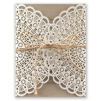 Wrap your #weddinginvitation in #lace! A laser cut wrap forms a lacy covering for your kraft paper wedding invite. Jute cord included!  Invitations by David's Bridal Style Rustic Lace.