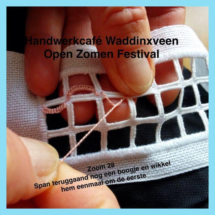 Handwerkcafé Waddinxveen: Zoom 28, bijna reticello, en echt wel Hardanger!