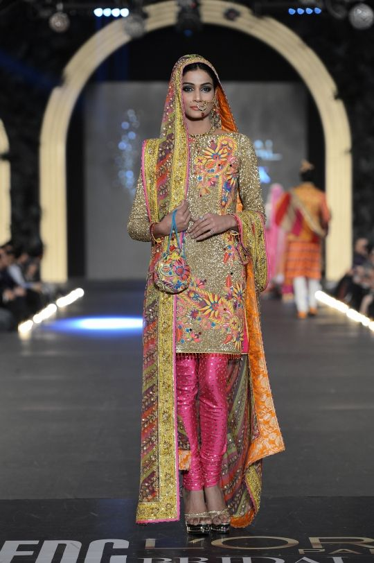 Pretty Floral Churidar Kameez by Nomi Ansari http://nomiansari.com.pk/ Pakistan at PFDC L'Oreal Bridal Fashion Week (Oct) 2013