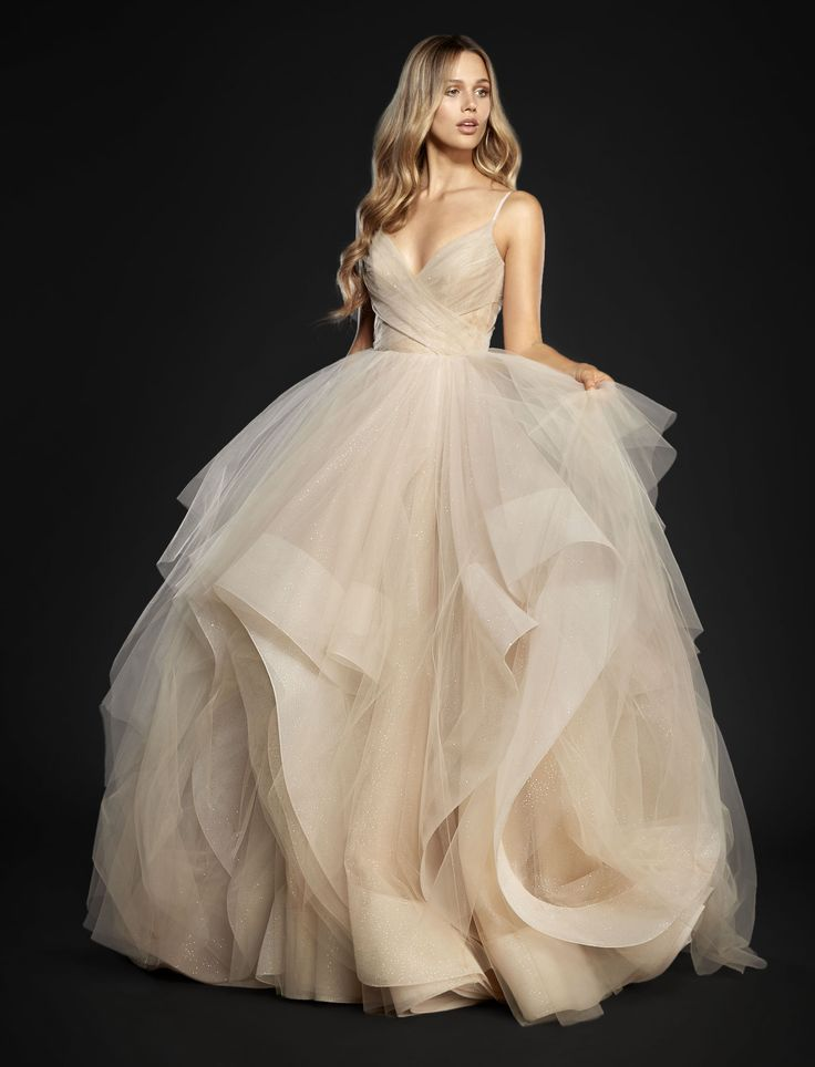 low cost wedding dresses in atlantga%0A Style      Chandon Moet stardusted tulle bridal ball gown  crisscross  draped sweetheart bodice and low scoop back  cascading skirt with horsehair  trim and