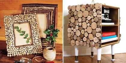 Heerlijke herfst: fotolijstje en kastje van houtresten. Klik op de afbeelding voor dit DIY-idee.