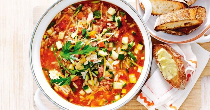 Packed full of goodness, this chicken and chorizo minestrone soup is a delicious hearty meal the family will love!