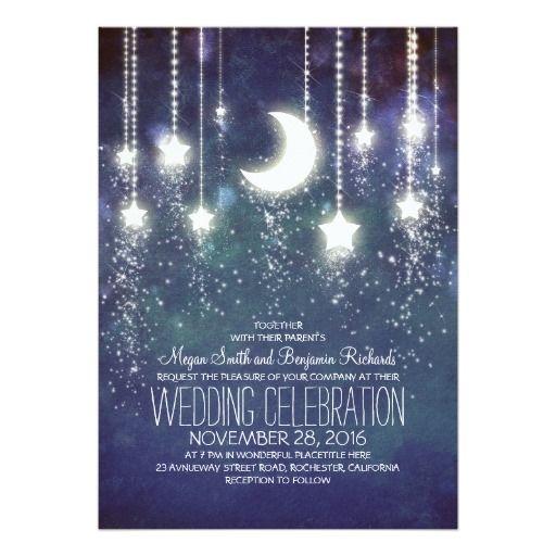 月の星及びひもライト結婚式招待状 12.7 X 17.8 インビテーションカード