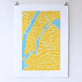 Intricate typographic map art of New York, showing neighbourhoods of Manhattan, Bronx, Queens and Brooklyn.
