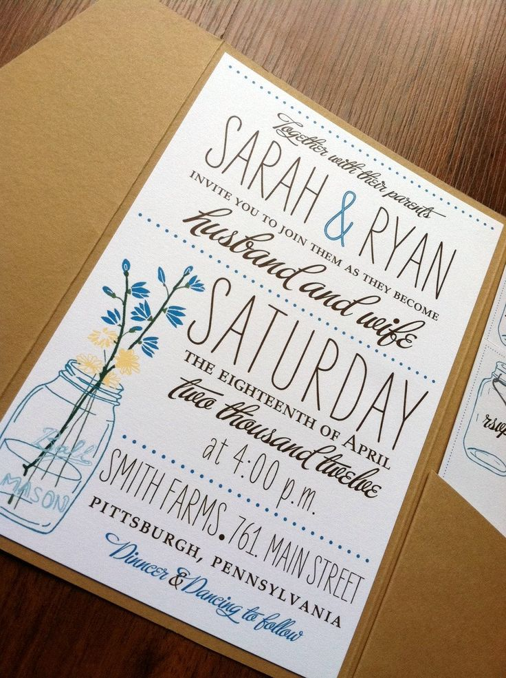 wedding party invitation message%0A Love the   buffet   font  Wildflower Mason Jar Invite  Self Assembly  Available