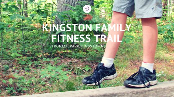 Having fun at the Kingston Family Fitness Trail at Stronach Park, Kingston NS with www.ValleyFamilyFun.ca