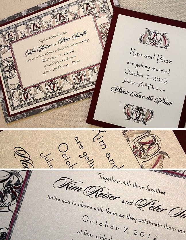 vintage wedding invitation text%0A burgundy and gray art deco wedding invitation and save the date