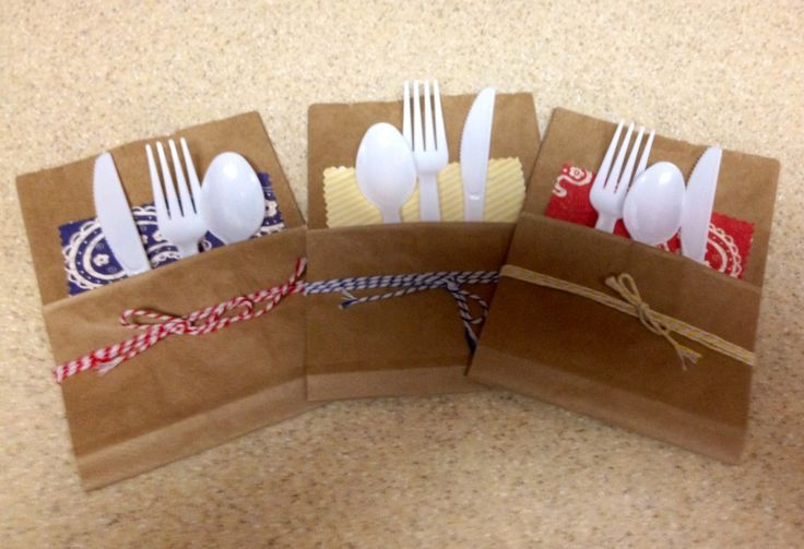 Diy Silverware Packets Using Folded Brown Paper Bags A