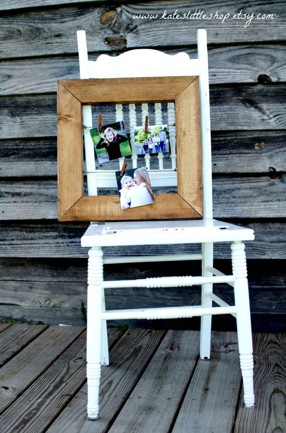 Hand Made Rustic Clothesline Picture Frame. by KatesLittleShop