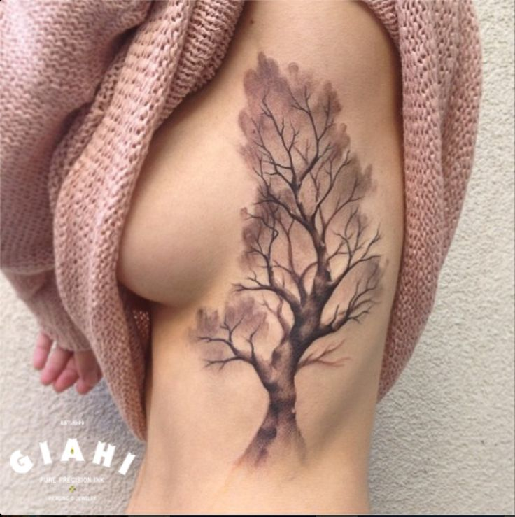 Tree tattoo on Body Side by Roony
