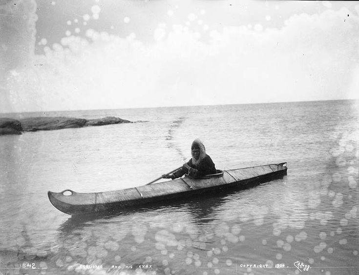 Eskimo in kayak, probably Alaska, 1900.UW Eric A Hegg Photographs