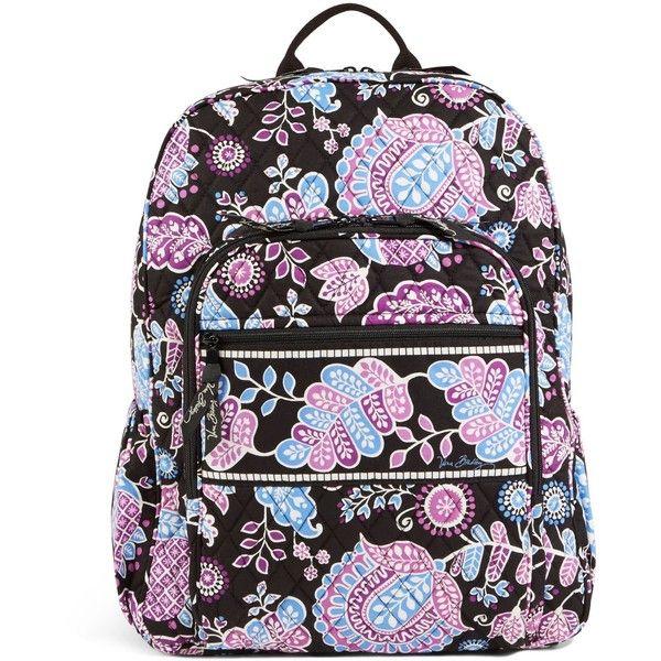Vera Bradley Campus Backpack in Alpine Floral (£72) ❤ liked on Polyvore featuring bags, backpacks, alpine floral, flower print backpack, pocket bag, strap backpack, padded bag and cross bag