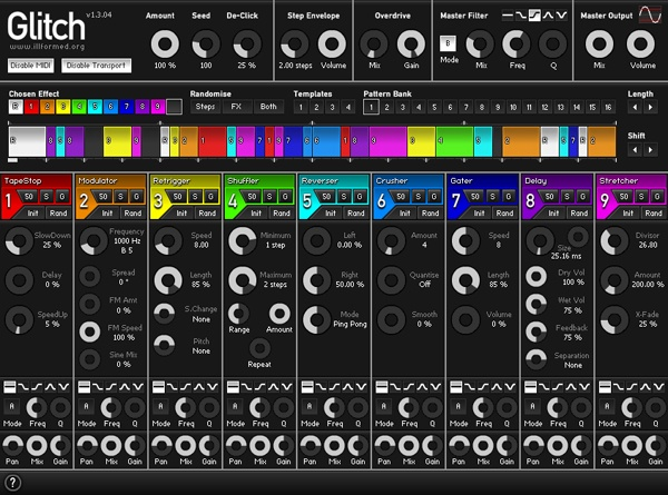 Glitch, one of my favorite free VST plugins. This essentially chops and screws your sound in a variety of different ways, and it is great for any kind of experimental electronic or glitch music.