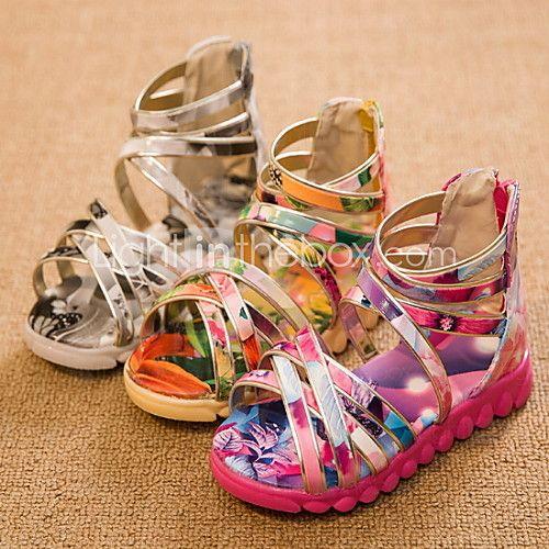 Casual ( Piel sintética , Gris / Amarillo / Melocotón )- Bajo (3/4 de pulgada a 1 1/2 pulg) - Tacón plano para Zapatos de niña - USD $ 14.99