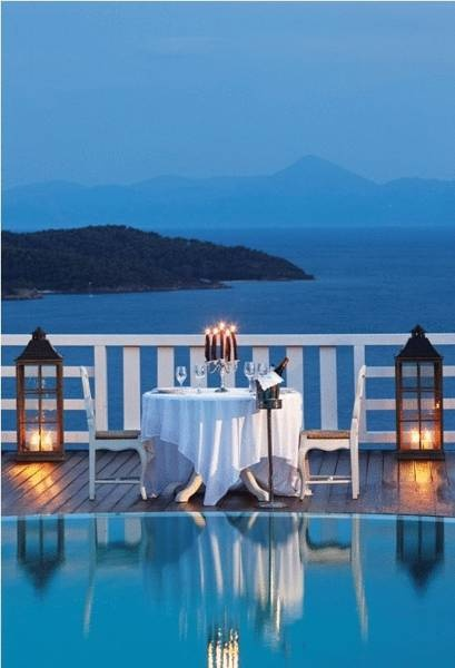 Watch the moon rise over the island of Skiathos, while enjoying a romantic candlelight dinner, at Kivo Skiathos Hotel & Suites
