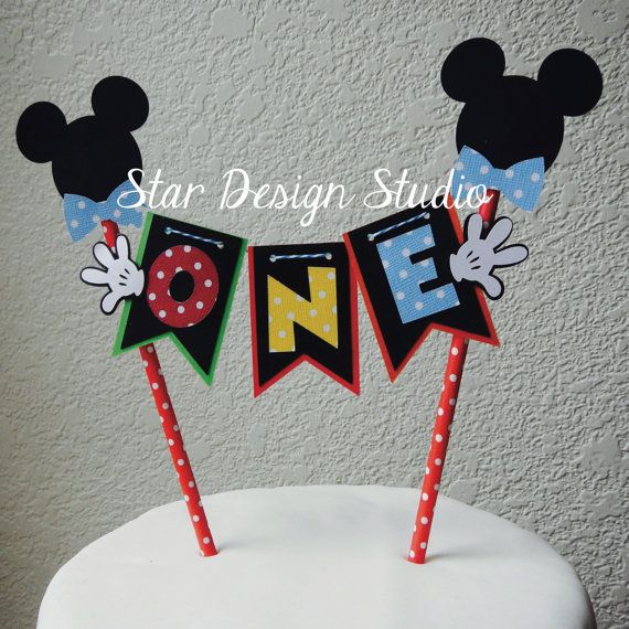 Mickey Mouse Cake Topper Birthday Bunting  Red by stardesignstudio