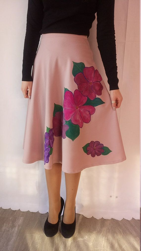 Handmade  pink painted circle skirt One of a Kind!