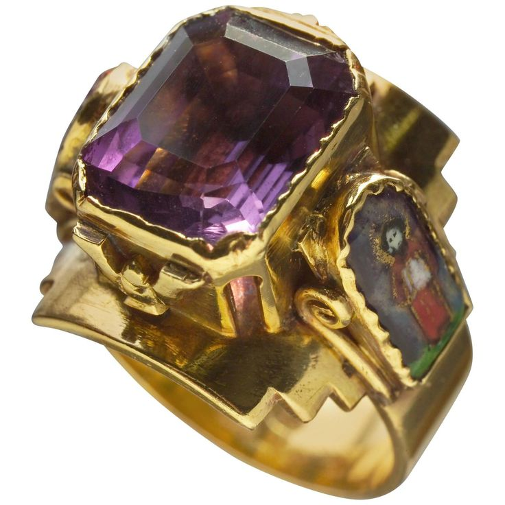 Arts and Crafts Ecclesiastical Ring | From a unique collection of vintage more rings at https://www.1stdibs.com/jewelry/rings/more-rings/