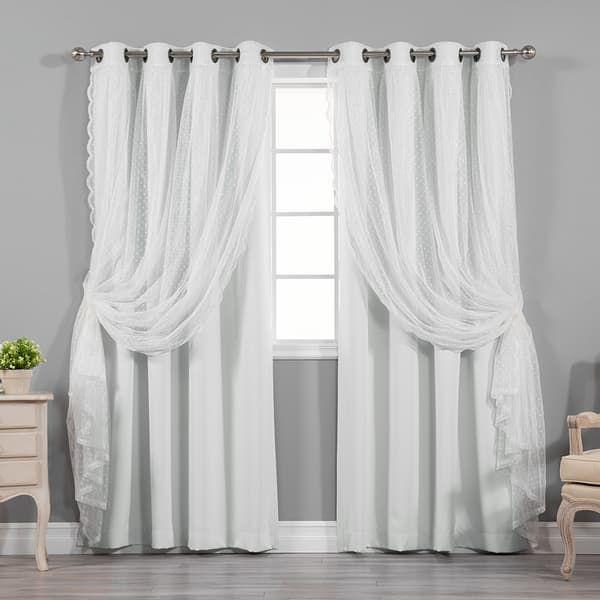 Aurora Home Mix Match Blackout And Dot Sheer 4 Piece Curtain