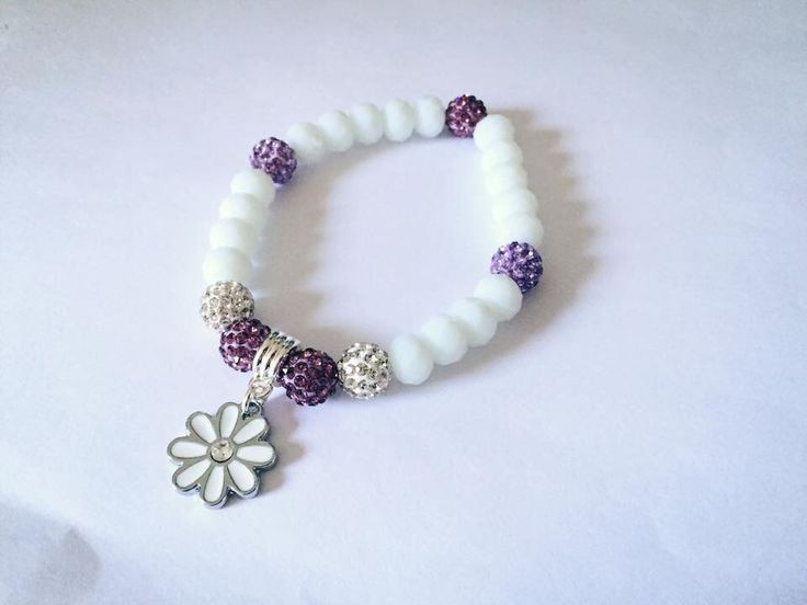 Daisybella commission for the lovely kellie #daisy #charm #purple #white #bracelet xx