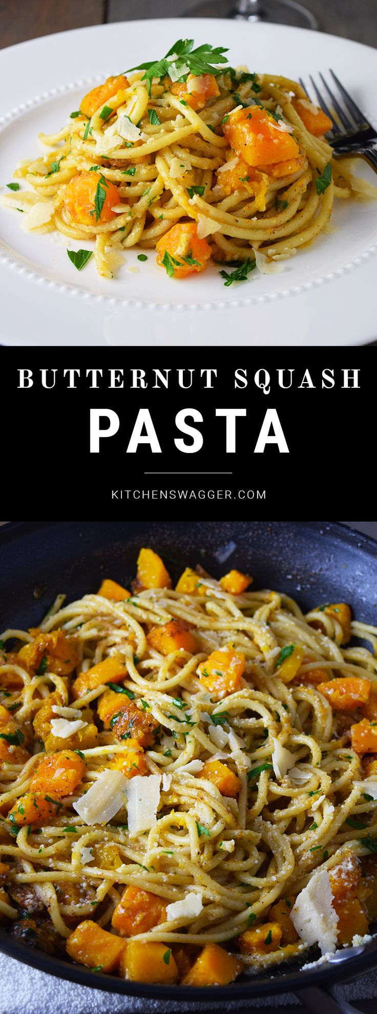 Easy butternut squash pasta dish made with brown butter, olive oil, brown sugar, and fresh butternut squash.