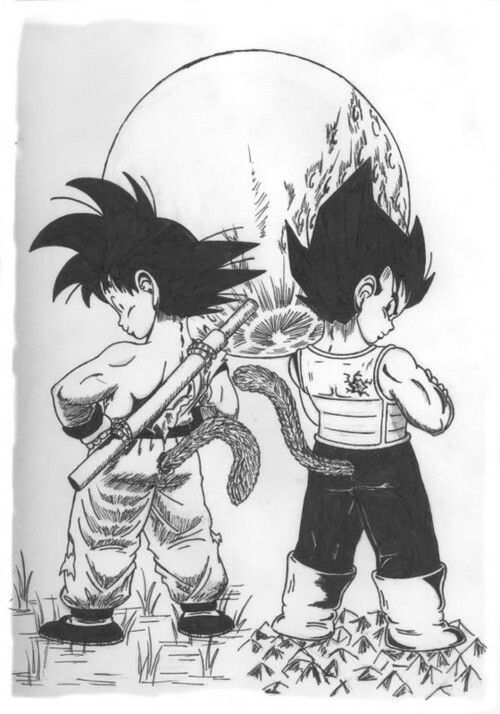 Kid Goku and Young Vegeta
