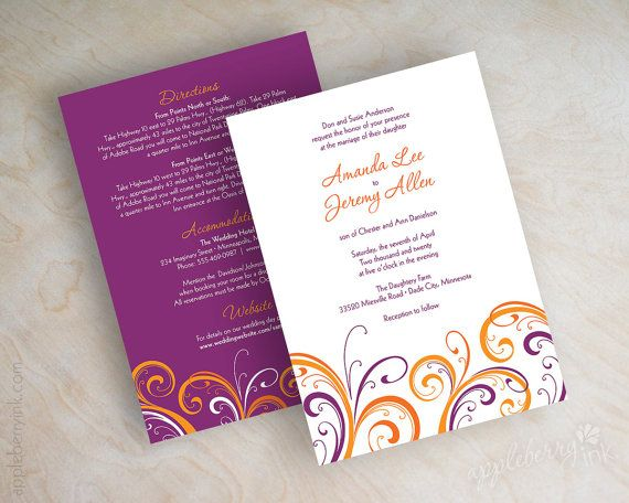 Hey, I found this really awesome Etsy listing at http://www.etsy.com/listing/38725341/orange-and-purple-wedding-invitation