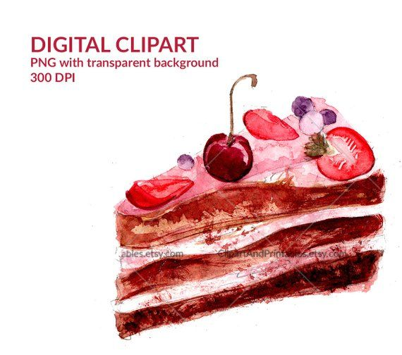 Slice Of Chocolate Cake Decorated With Cherry Digital Illustration Watercolor Clip Art With Trans Chocolate Cake Decoration Watercolor Food Cake Illustration