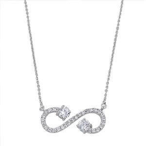 Sterling Silver CZ Open Infinity Necklace. Open Cubic Zirconia Infinity pendant…