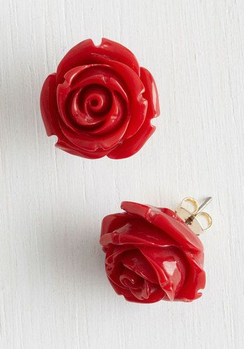 Retro Rosie Earrings in Red - Red, Solid, Flower, Good, Variation, Gold, Top Rated, Under $20, Valentine's, Daytime Party, Spring, As You Wish Sale