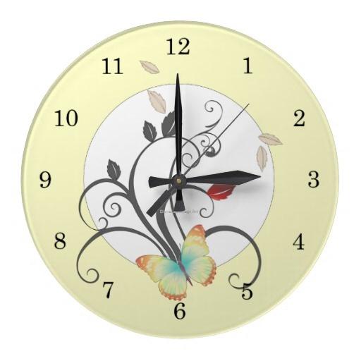 Butterflies Flower Art Deco Wall Clock from Diane Leenknegt