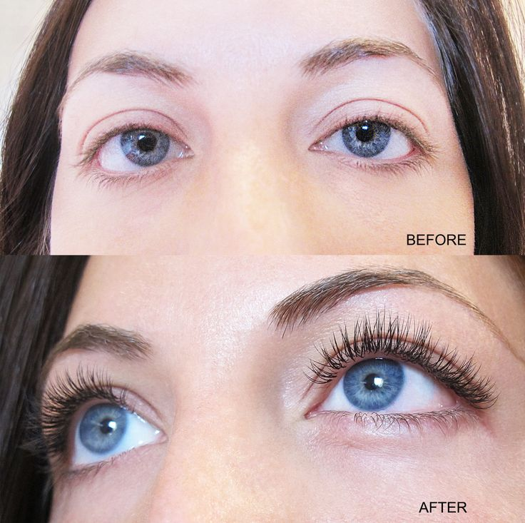 Semi-permanent silk eyelash extensions - natural look.
