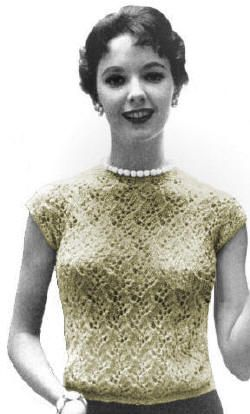 Lacy Over Blouse with Cap Sleeves Vintage Knitting Pattern for download Sz 10-20