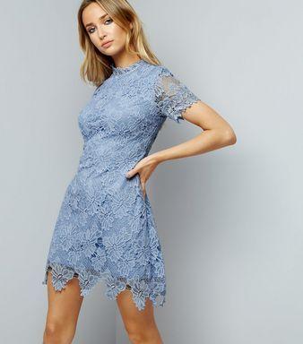 AX Paris Pale Blue Lace High Neck Dress | New Look