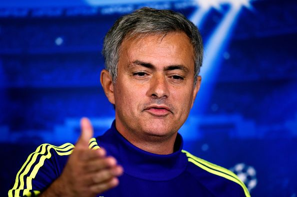 Chelsea manager Jose Mourinho speaks to the media during the Chelsea FC Press Conference ahead of the UEFA Champions League Group G match against NK Maribor at the Chelsea training ground on October 20, 2014 in Cobham, United Kingdom.