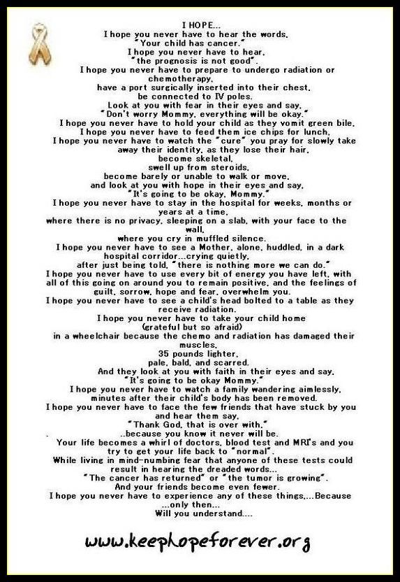 cancer Poems | came across a sad poem that I can relate to.