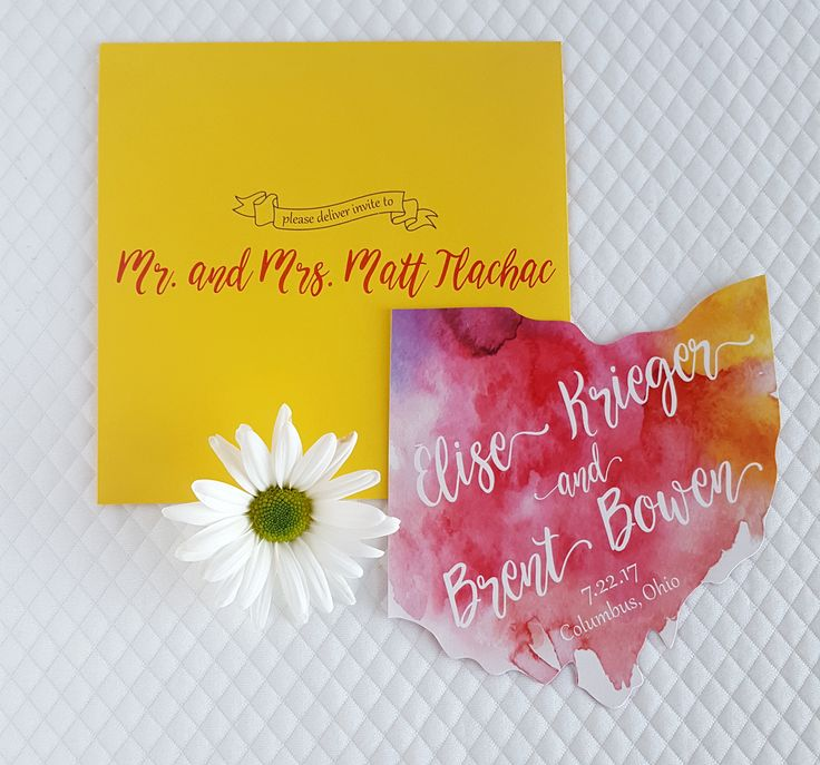 Bright and bold watercolor save the date using state of Ohio cutout. Purple, red and yellow tone watercolor save the date with calligraphy script. Bright yellow mailing envelope to match