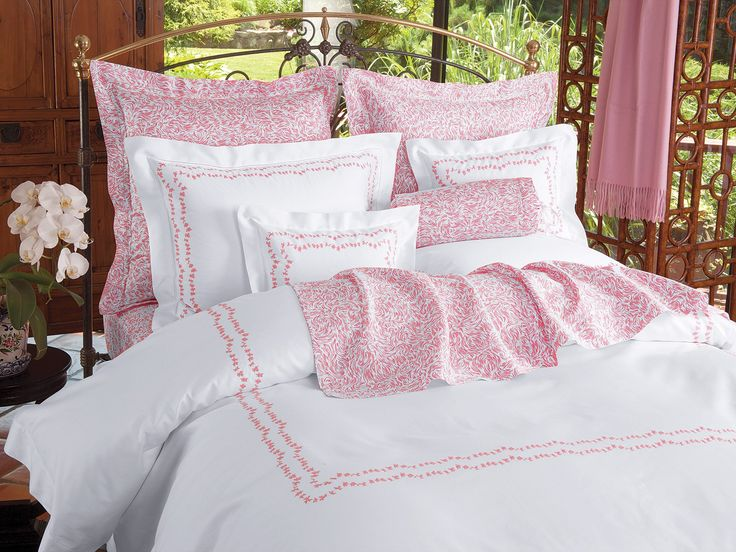 Daisy Chains - Luxury Duvet Covers - As appealing as a lilting tune or light summer breeze, a winsome twosome of daisy chains is prettily embroidered on pure Egyptian cotton sateen, 600 thread count