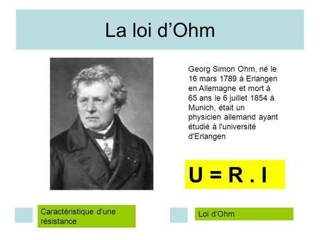 La loi d'Ohm Georg Simon Ohm, né le 16 mars 1789 à Erlangen en Allemagne et mort à 65 ans le 6 juillet 1854 à Munich, était un physicien allemand ayant.