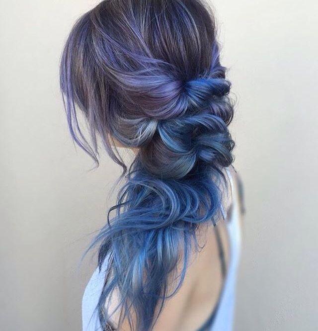 Purple and blue balayage on dark hair   By @theblondebrunetteaz  #purplehair #bluehair #purpleandbluehair