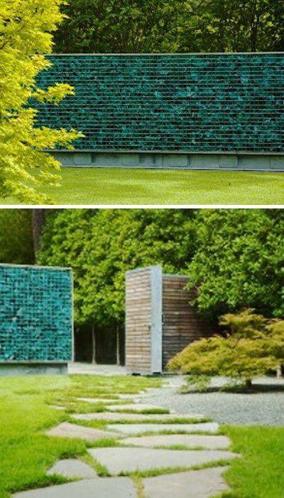 Glass bottle gabion wall Design Pinterest