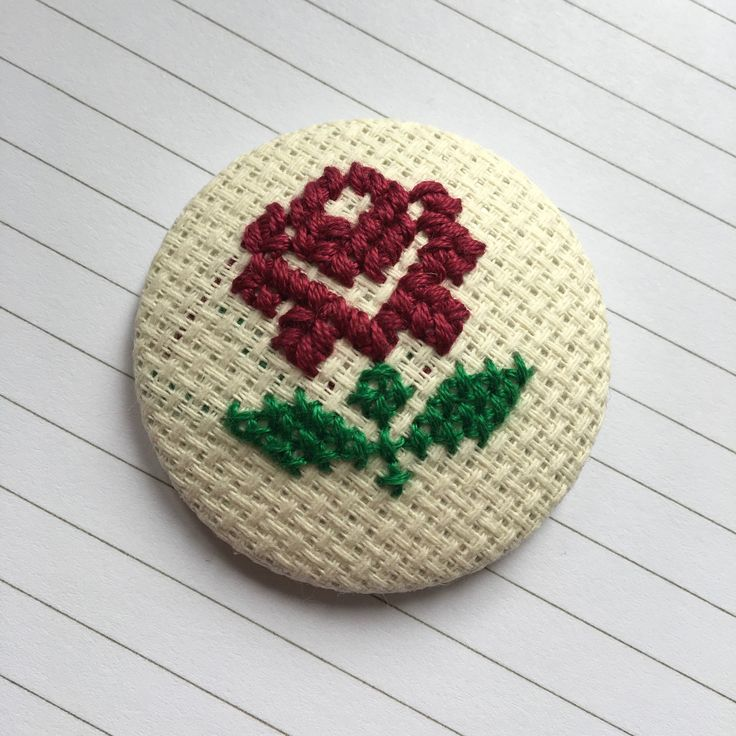 Burgundy Rose Cross Stitch Badge by ZeykaHandmades on Etsy https://www.etsy.com/listing/527813040/burgundy-rose-cross-stitch-badge