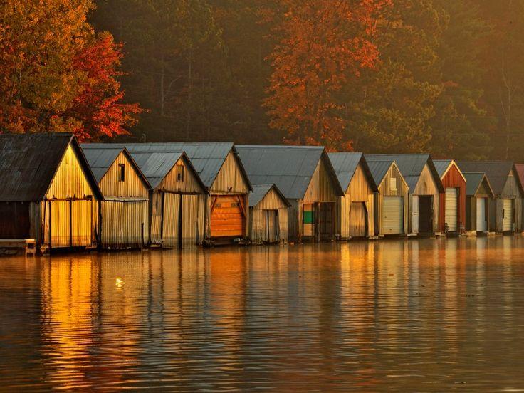 Webshots - Boathouses at Dawn, Lake Panache, Greater Sudbury, Ontario
